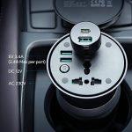 Aukey Onduleur 200 W, DC 12 V à AC 230 V Onduleur de voiture avec prise de courant AC, prise 12 V et Ports USB doubles pour automobiles, bateau, et camping-car de la marque Aukey image 1 produit