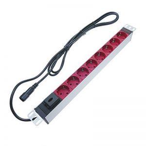 cablematic.fr - Multiprise 8 prises pour rack 19'' rouge avec interrupteur et câble C14 RackMatic de la marque Cablematic image 0 produit