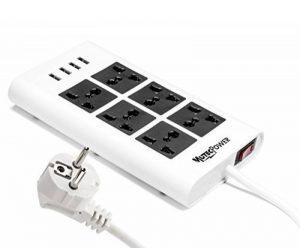 MutecPower Powerstrip universelle avec 6 femelles et 4 ports USB - 100V à 220V/250V et 2500 Watts Surge Protector - Avec disjoncteur - Pour l'usage du monde de la marque Mutec-Power image 0 produit