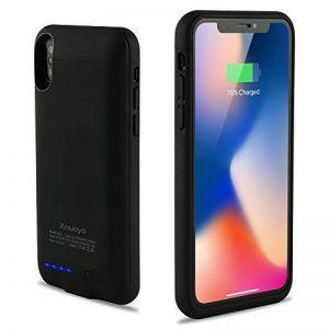 Xnuoyo Coque Batterie Ultra Fin Étui Housse avec Batterie Externe Rechargeable 4000mAh Li-polymère, Portable Chargeur Batterie de Secours Supplémentaire Battery Cover Case pour iPhone X-Noir de la marque Xnuoyo image 0 produit